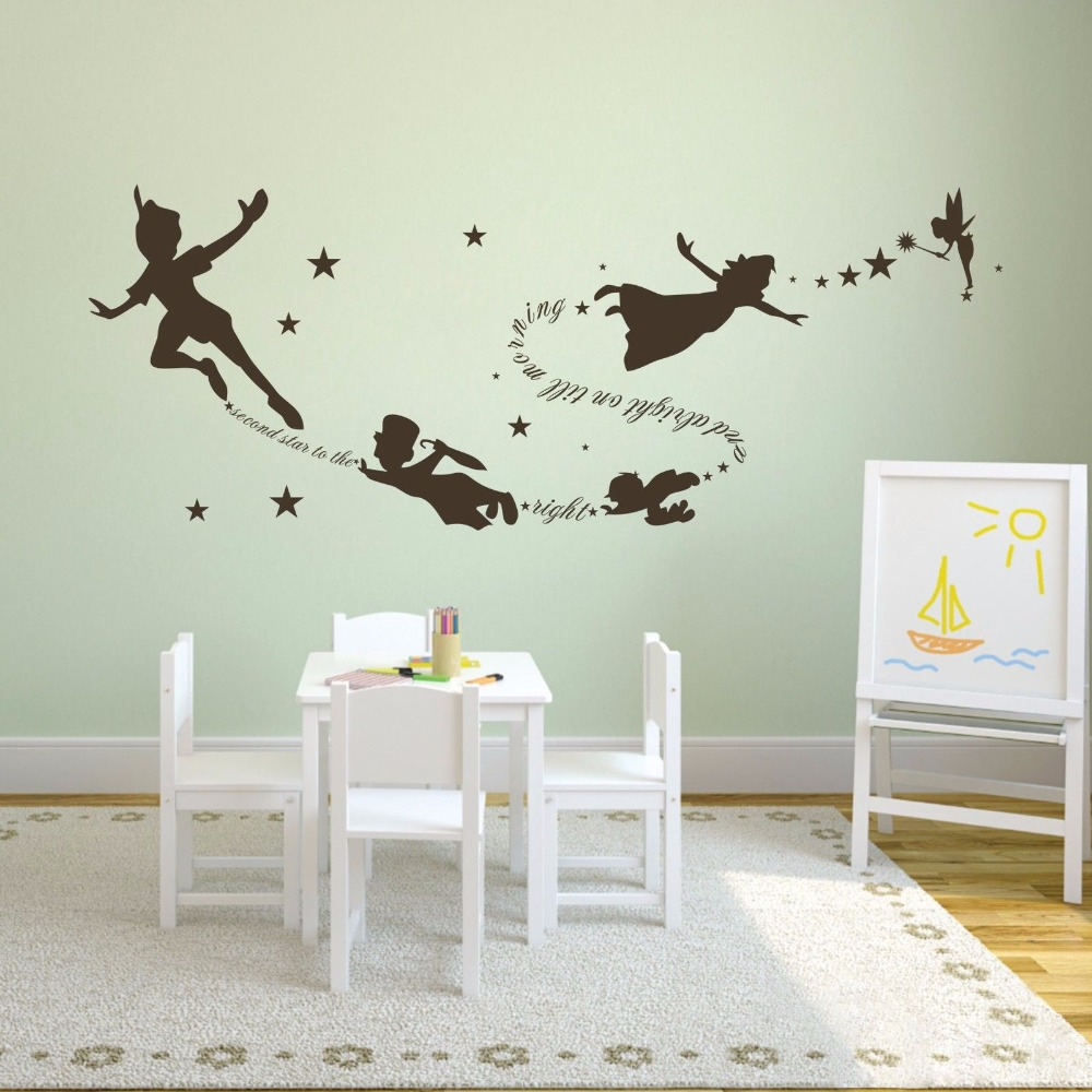 Exceptional Aliexpress.com : Buy Tinkerbell Peter Pan Wall Decal Removable Kid Second  Star Quote Vinyl Poom Decor 22inx58in From Reliable Peter Pan Wall Decals  ... Part 2