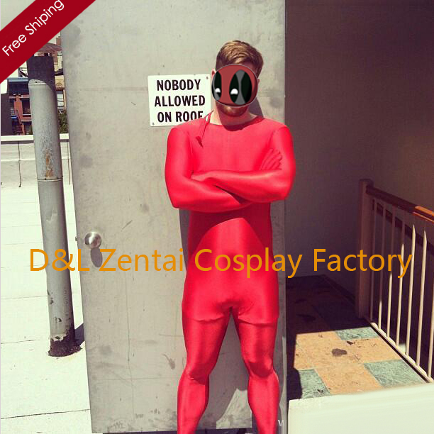 Free Shipping DHL Adult Fashion Unisex Red Color Lycra Spandex Zentai Suit Without Hood LS1416