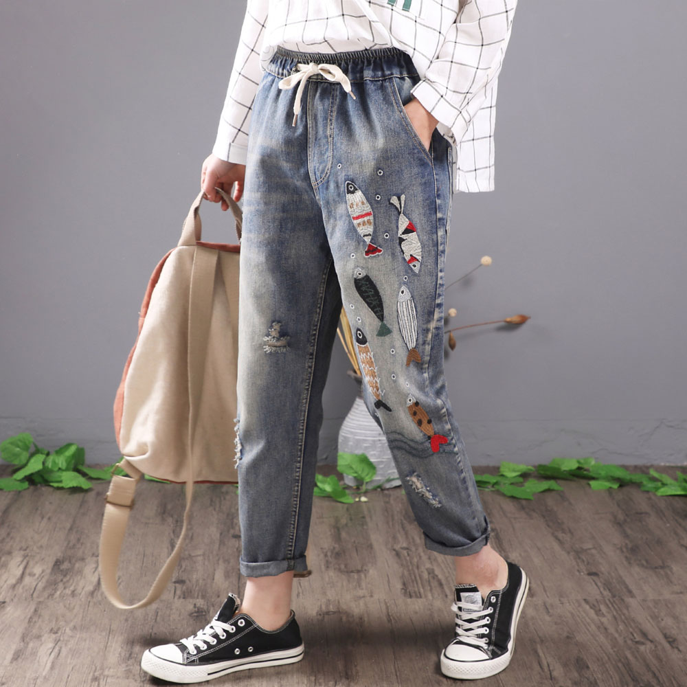 QPFJQD Embroidered Jeans Harem-Pants Waist-Trousers Lace-Up Ripped Elastic Vintage Blue title=