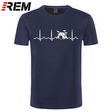 REM Custom Printed T Shirts Men'S Short Sleeve Top O-Neck Drums Drummer Heartbeat T Shirt(China)