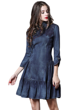 New Dress Women Buttoned Cheongsam Denim Vintage Ruffled Slim Vestidos De Verano Ladies Dresses Clothes