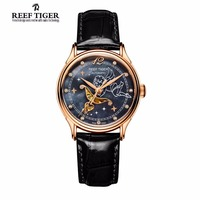 2017 Reef Tiger Luxury Brand Designer Watches Women's Lover Rose Gold Tone Mother Pearl Dial Leather Strap Waterproof Watch