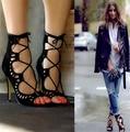 2016 Женская Мода Насосы Женская Обувь Сандалии зашнуровать Высокие Каблуки Вырезами Обувь Лето Открытым Носком Sapato Femininos Плюс размер 43