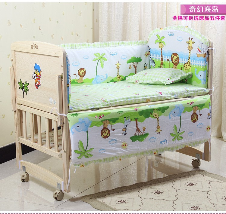 Promotion! 6PCS 100% Cotton Kid Baby Children Bedding Set Product Infant Cartoon Quilt (3bumpers+matress+pillow+duvet)