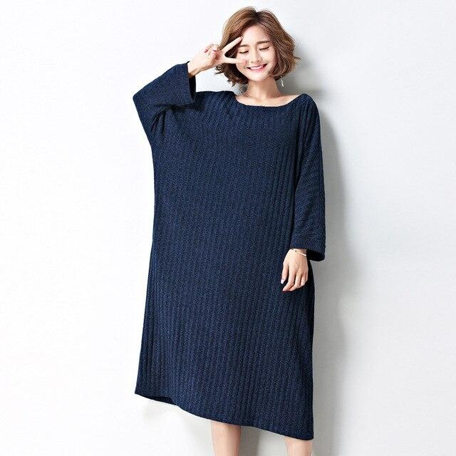 2017 Autumn Winter Women Oversized T Shirt Dress Korean Causal