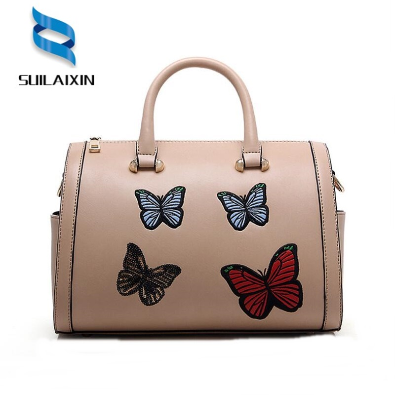 Women Leather Boston Handbag Large Butterfly Embroidery Embossing Retro Large Floral Shoulder Bag Ladies Casual Tote Bags Bolas