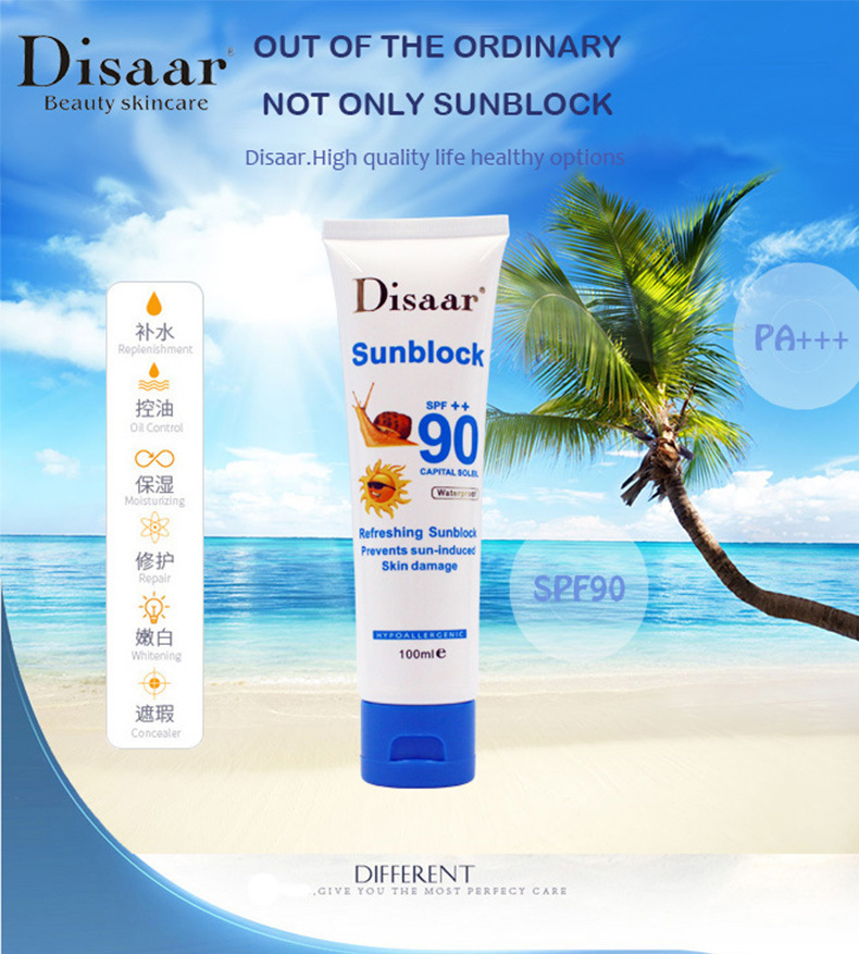 10pcs/lot Disaar Sunblock Cream Spf 90 Sunscreen Skin Repair Whitenning Lightening Lotion Protetor Solar Para Pele Creme Solaire