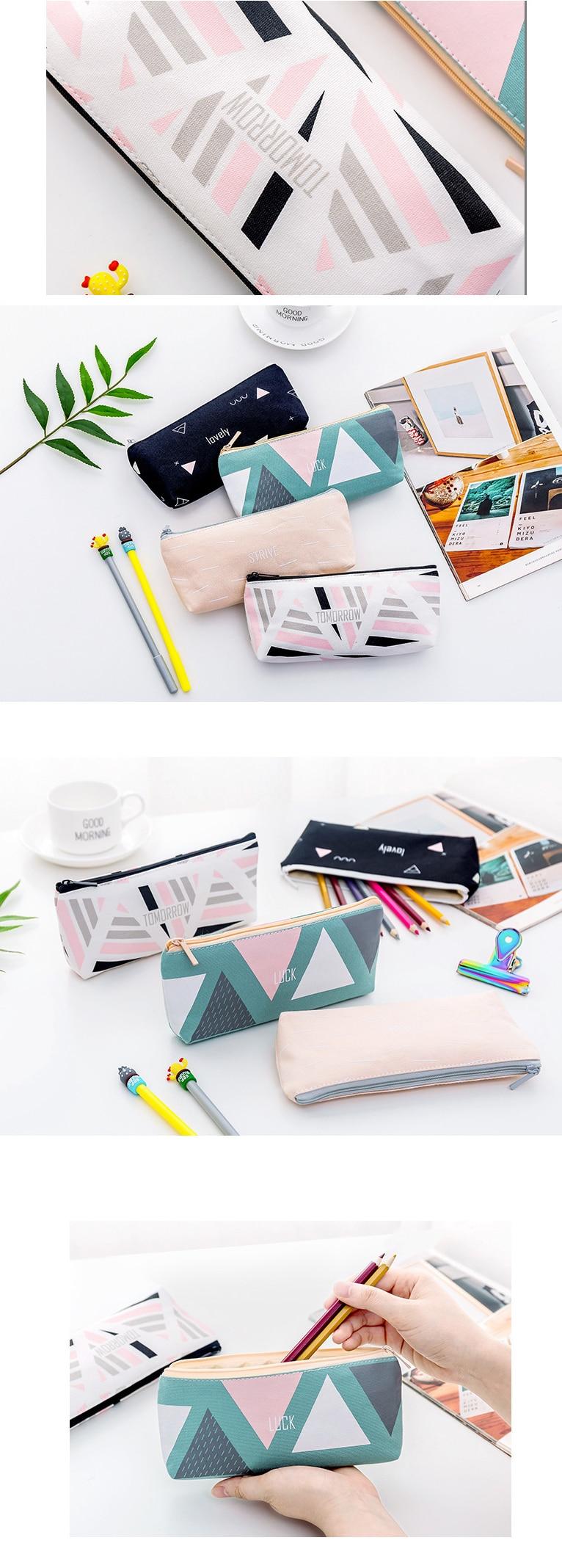 ebb4f917fe61 ᗐCute Fresh Geometric Series Pencil Case Canvas Fashion Triangle ...