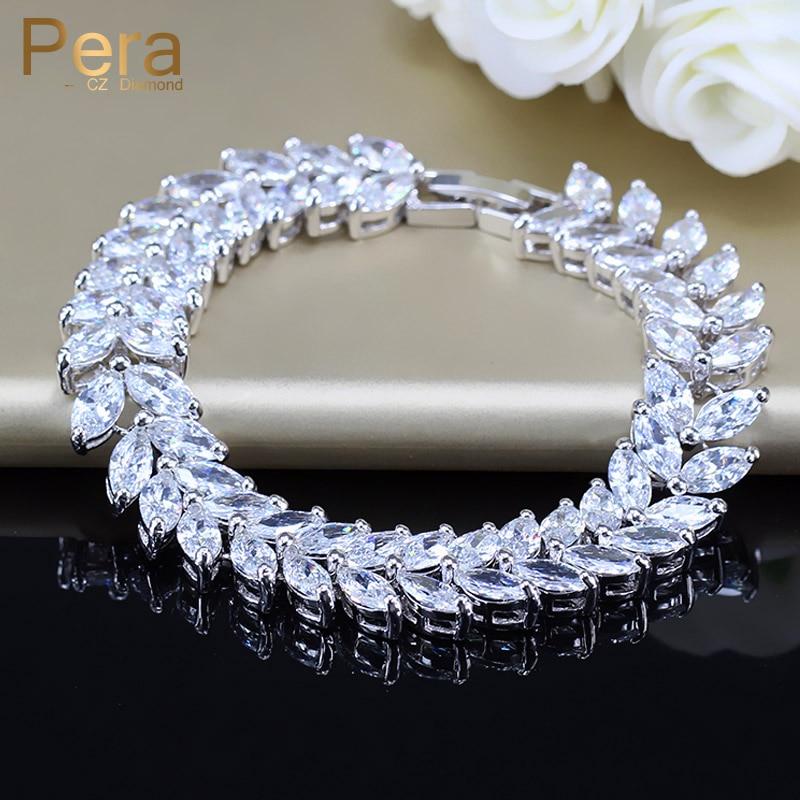 Luksuzni nakit za poroko 925 šterling srebra, oblikovanje iz listov CZ kristalni kamen velike poročne zapestnice in zapestnica za neveste