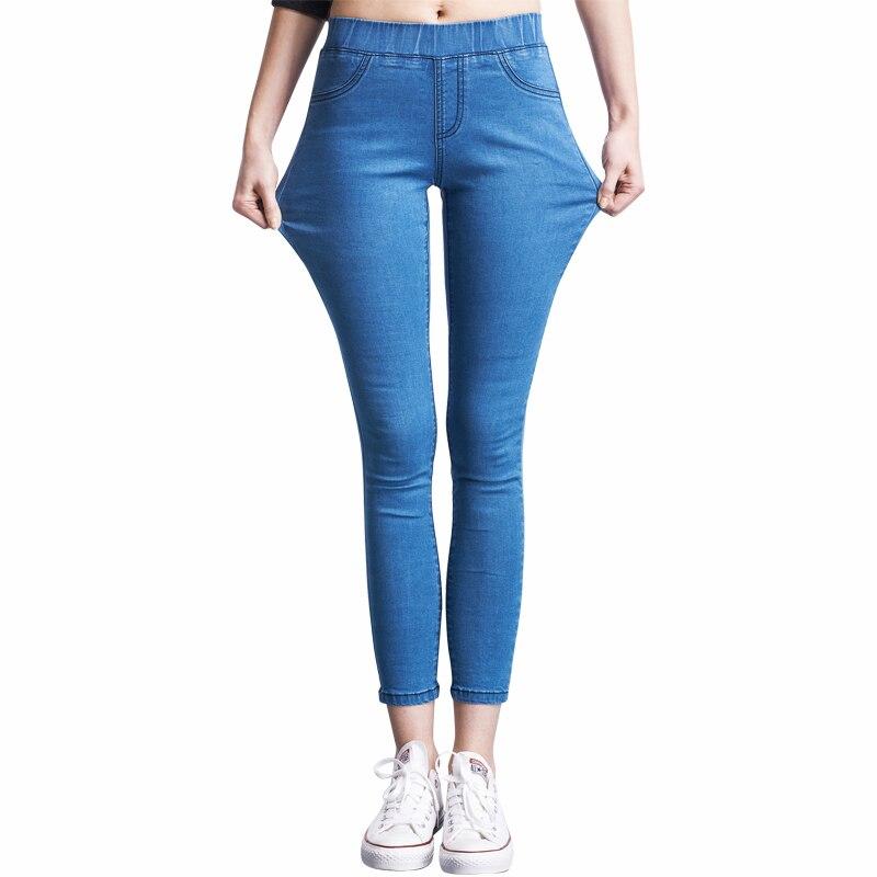 2018 calças de brim femininas casuais calças de brim de cintura alta magro plus size calças de brim elásticas para mulher azul preto 110kg