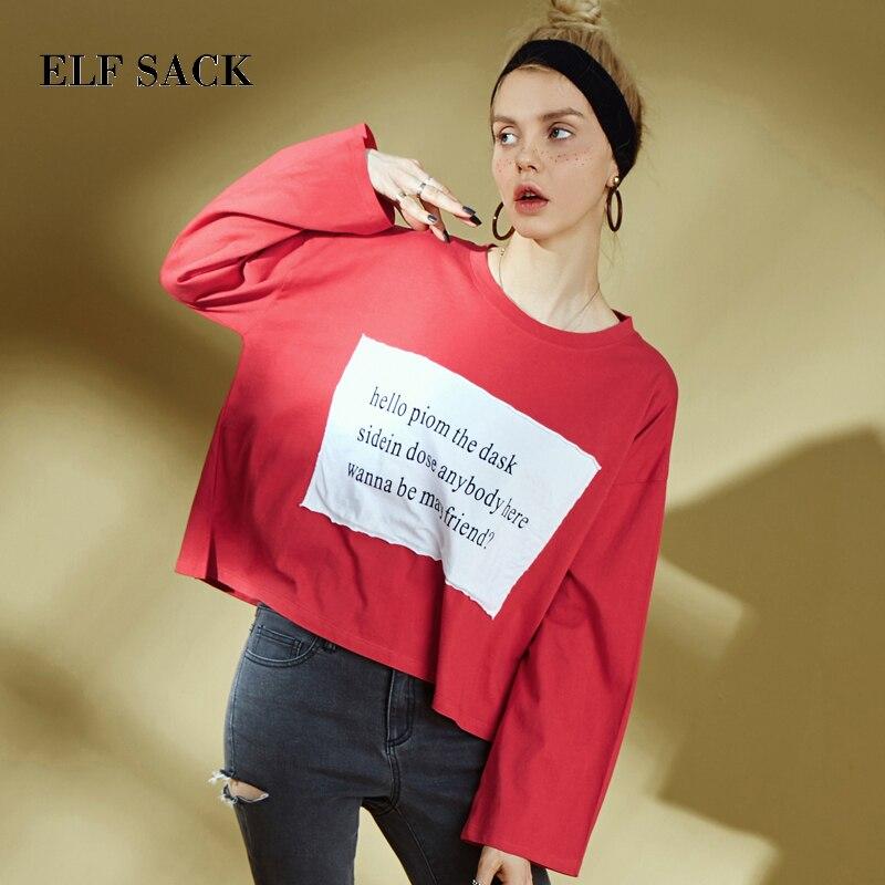 ELFSACK Letter Print Patchwork Women Short Tops 2019 Autumn Fashion O-Neck Full Sleeve Oversize Female T-shirt Casual Tee