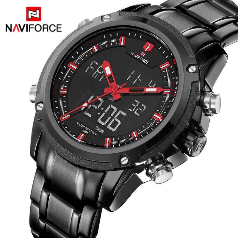 Jam Tangan Pria Naviforce Merek Olahraga Penuh Steel QUARTZ Analog LED Clock Reloj Hombre Tentara Militer Jam Tangan Pria Warna
