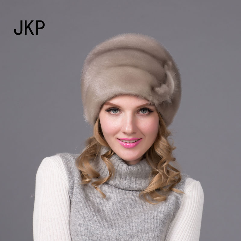JKP 2018 Winter women fur hats imported real mink fur hat flower pattern adjustable   skullies     beanies   Fashion cap DHY-66
