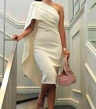 Vestidos de noiva 2017 Einfache Ein-schulter Cocktailkleider Elfenbein Arabische Kleider Kurze Prom Kleider Homecoming Party Kleider