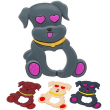 Cartoon Dog 1pc Baby Teether Cute Toys BPA Free DIY Nursing Teething Pendants Food Grade Silicone Teether(China)
