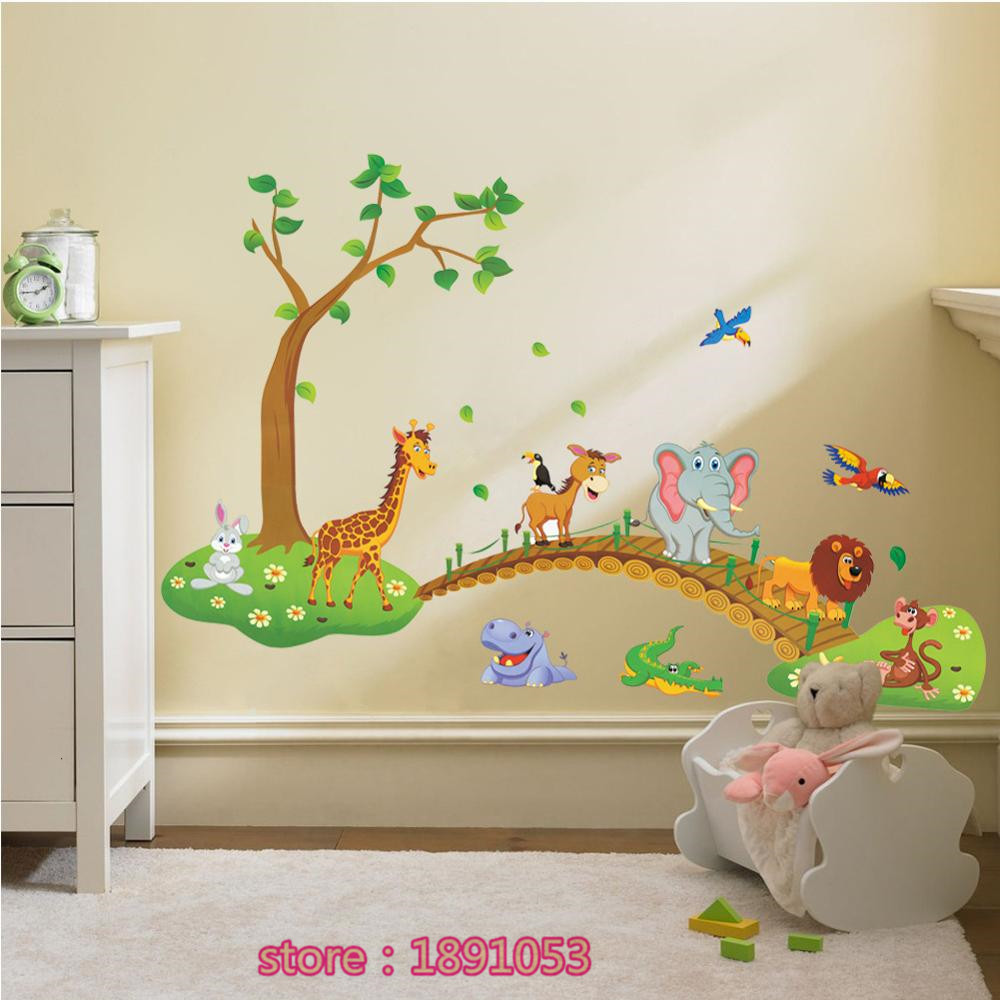 Owl cartoon elephant giraffe crossing pattern wall stickers owl cartoon elephant giraffe crossing pattern wall stickers childrens room bedroom baby room sofa living room tv background sti in wall stickers from home amipublicfo Choice Image