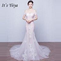 Это YiiYa Новый Slash шеи Свадебные платья Русалочки маленький поезд труба невесты платья кружевные платья De Novia Casamento HX002