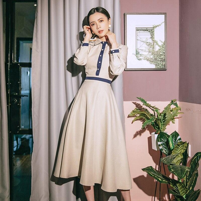 Style élégant Audrey Hepburn 1960 s robe Vintage à manches longues étudiant robe Lori 2019 automne/hiver robe de princesse