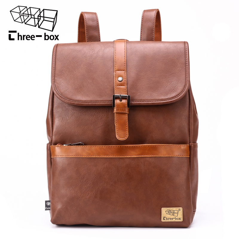 Three-box Famous Brand Vintage Style Leather Large Capacity Men Backpack School Bag Travel Business Mens Laptop Daypacks Mochila