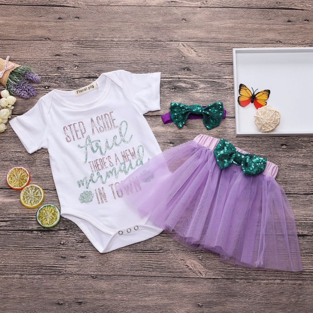 2018 Lovely Baby Girl Summer Clothes Set Letter Print White Top+Purple Tutu Dress Baby Two Piece Outfit Cute Baby Girl Bow ...