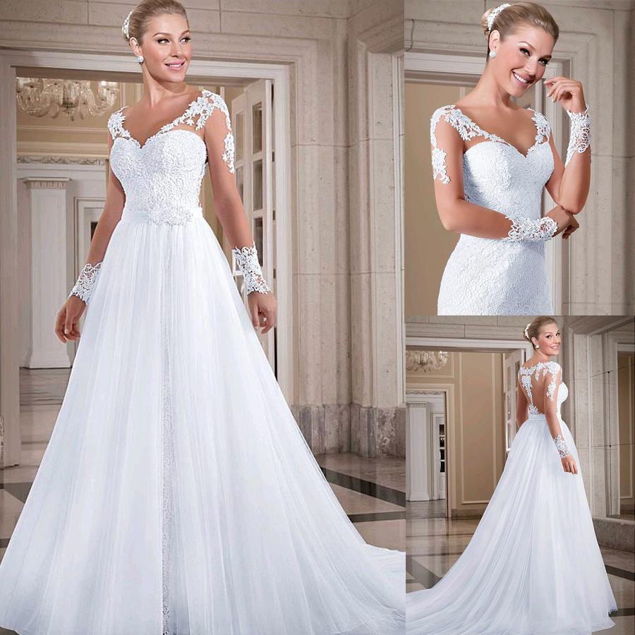 Fashionable Tulle & Lace V-neck Neckline 2 In 1 Wedding Dresses With Beadings & Lace Appliques & Detachable Skirt Bridal Dress
