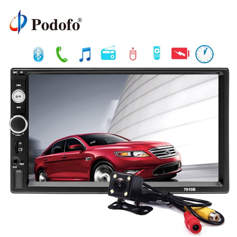 Podofo 2 rádio Do Carro um din 7 HD Player MP5 Display Digital de Tela de Toque Bluetooth USB Multimídia 2din Autoradio Car monitor de Backup