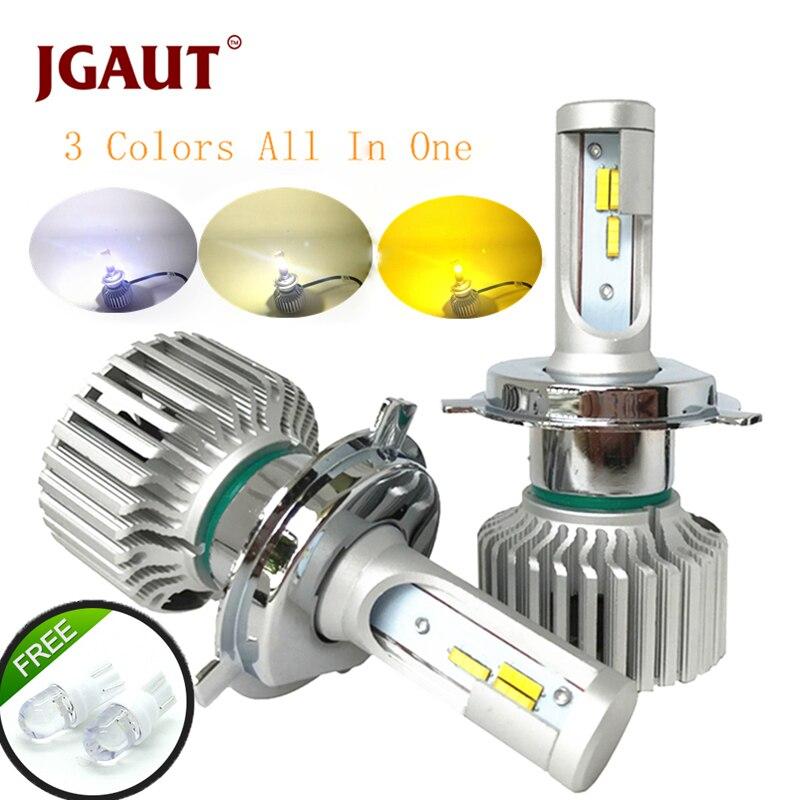 JGAUT Voiture lumière LED Phare H7 H4 LED Ampoule H1 H3 H8 H11 9005 9006 880 9012 3 Couleurs Phare Kit 3000 K 4300 K 6000 K 9600LM Double