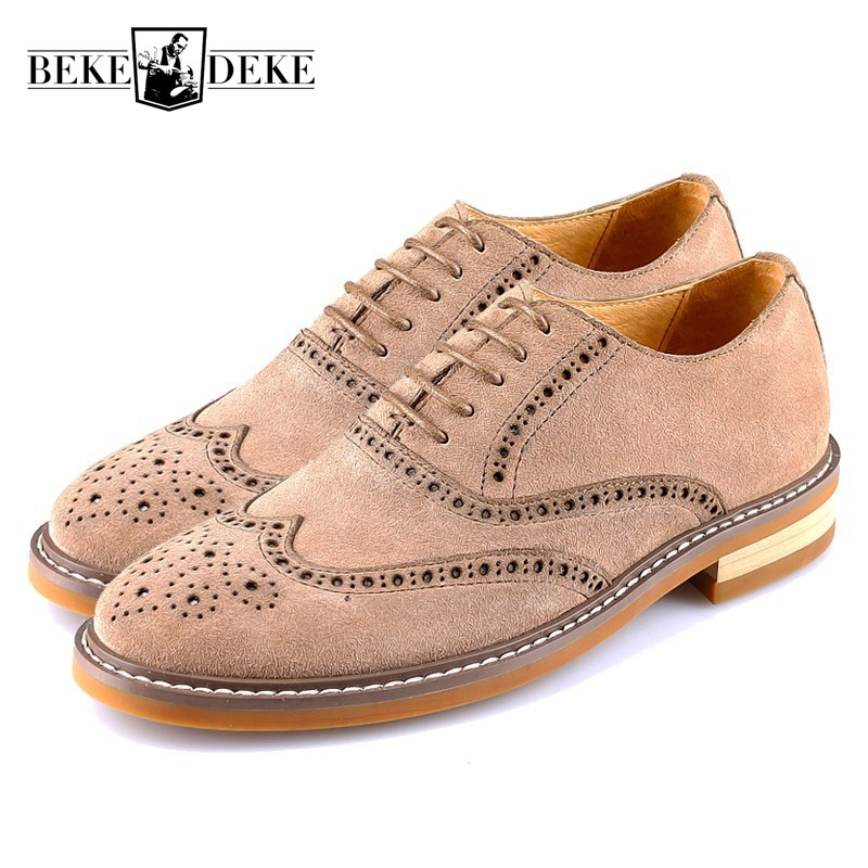 Retro Genuine Leather Business Men Casual Shoes Lace Up Brogue Wing Tip British Vintage Man Footwear Block Heel Sapato Masculino top quality england style retro mens cow genuine leather brogue shoes male casual shoes lace up round toe breathable wing tip