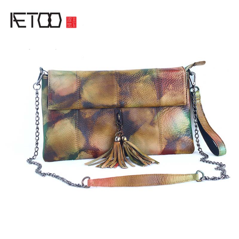 AETOO orgainal retro hand-colored multi-functional first layer of leather shoulder bag ladies hand bag vintage tassel chain bags aetoo new men bag shoulder bag male korean version of the first layer of leather students backpack retro men multi functional me