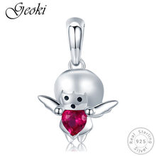 Geoki 925 Sterling Silver Red Heart Zircon Little Angel Shaped Charms fit Pandora Bracelet Cute Girl Beads Necklace Pendant(China)