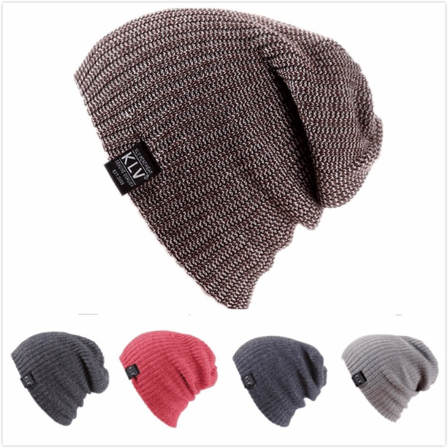 75724738b209f KLV winter women caps Wool knitted boy girl hat Warm Crochet Beanie Skull  Slouchy Caps female