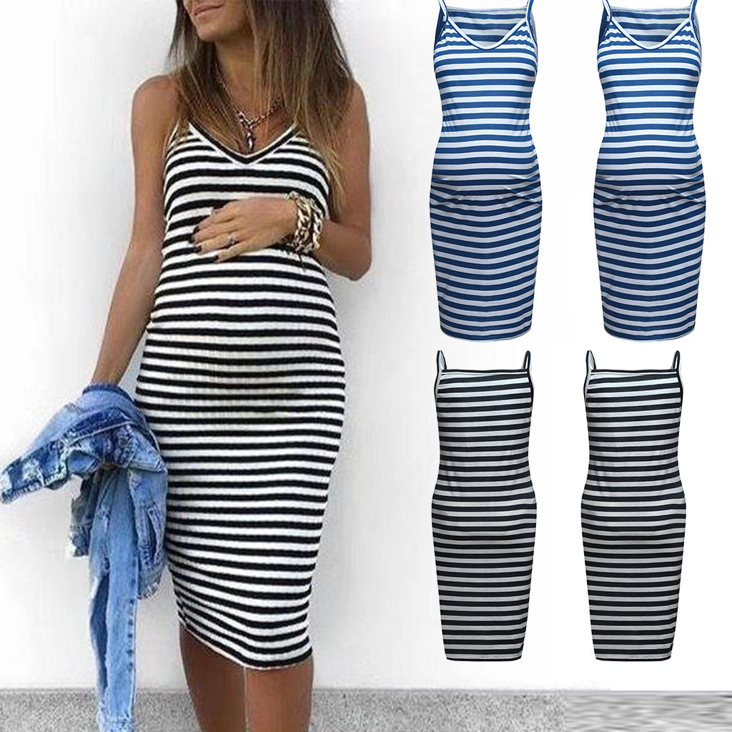 2c56bbef97 Detail Feedback Questions about Summer Dresses For Pregnant Women  Breastfeeding Maternity Sleeveless Striped Print Breastfeeding Sundress Pregnancy  Dress on ...