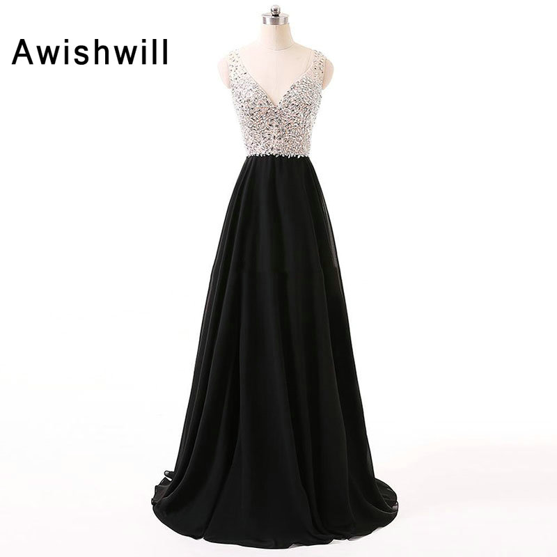Sexy Long   Prom     Dress   Black V-neck Sequins and Beaded Chiffon Sleeveless Open Back A-line Women Formal Evening Gown Plus Size