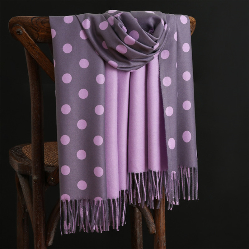 2019 New Winter Warm Cashmere Scarves Dot Pattern Pashmina Bandana Long Tassels Women Thicken Wraps And Shawls Female Foulard