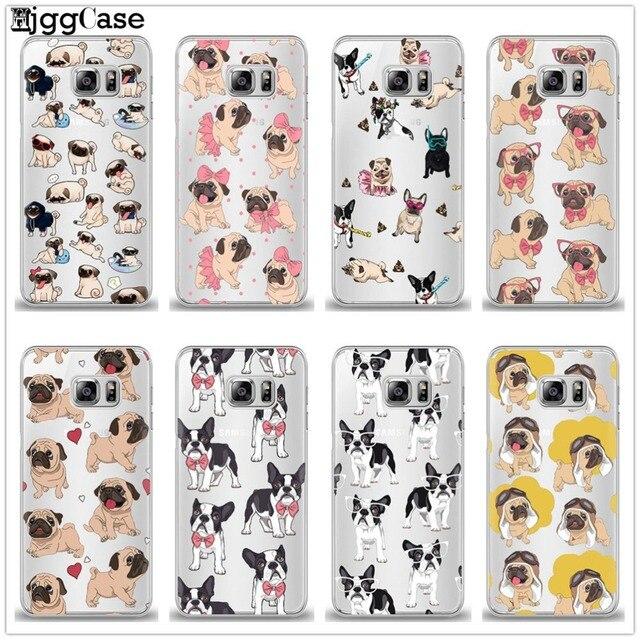 Bonito Pug Filhote de Cachorro Princesa Francês Bulldog silicone Suave Case Capa Do Telefone Para Samsung Galaxy J1 J3 J5 J5 J7 2016 2017 J2 Prime Coque