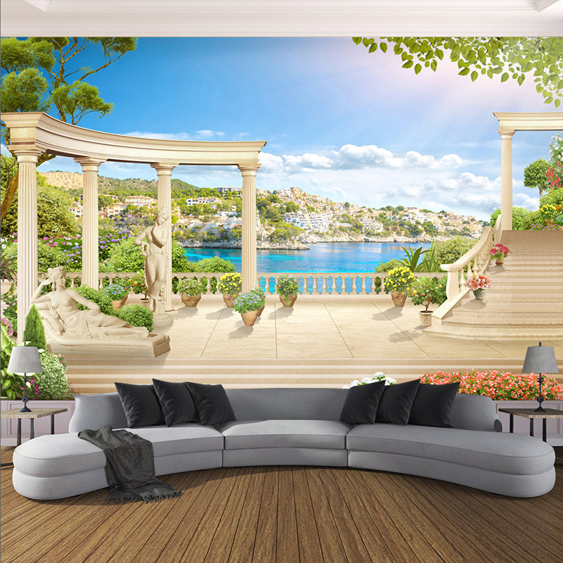 custom 3d photo wallpaper wall covering roman column With markise balkon mit 3d tapete schlafzimmer