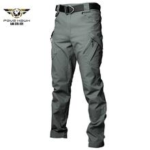 IX9 miasta Stretch elastyczny taktyczne spodnie w stylu cargo mężczyźni walki SWAT wojskowe spodnie militarne bawełna wiele kieszenie człowiek spodnie typu casual XXXL tanie tanio Pełnej długości Cargo pants Safari Style REGULAR COTTON Elastan Midweight Mieszkanie Płótno Sznurek PAVEHAWK S M L XL 2XL 3XL