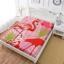 Animal Flamingo Print Bed Sheets Wolf Sheep Print Fitted Sheet Twin Full King Queen Sheet Soft Mattress Cover Elastic Band D30 недорого