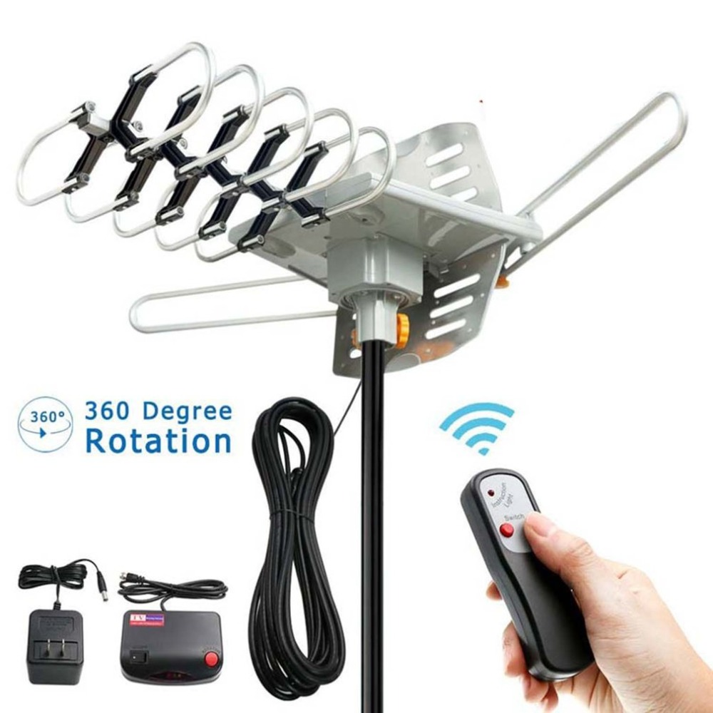 Free HDTV 1080P 150 Miles Outdoor TV Antenna Motorized Amplified Device 36dBi High Gain VHF UHF FM Aerial Signal Booster