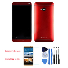 New 100% Test LCD Touch Screen Digitizer With Front Housing Frame + Battery Door Cover Red For HTC One M7 Red With Free Tools