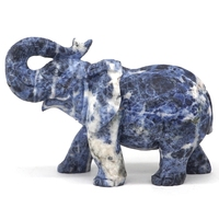 6.4 Elephant Statue Natural Gemstone Blue Sodalite Crystal Carved Home Decor