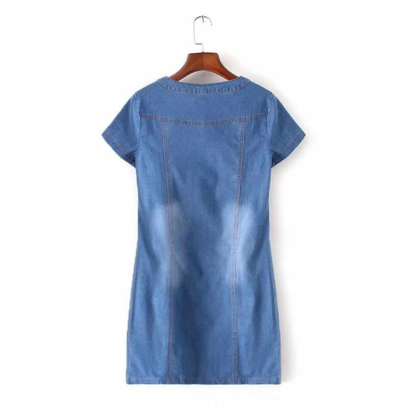 Летнее платье из джинсовой ткани Для женщин 2019 новое, модное платье с круглым вырезом для шеи, платье с коротким рукавом с джинсовым платьем Большие размеры женские свободные трапециевидной формы джинсовые платья N292