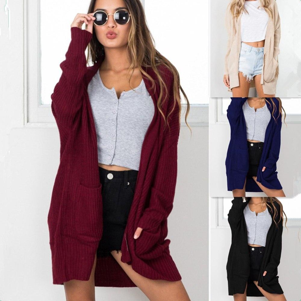 New Winter Casual Punk Style Women Sweater Long Sleeves Open Stitch Sweater Pocket Knitted Oversized Fashion Women Cardigan Coat