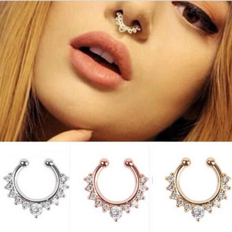 Crystal Fake Nose Ring Round Septum Piercing Clicker Faux Clip Non