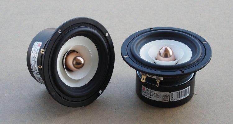 2 шт. Audio Labs 4 дюймов Полный частоты динамик, экранированный белый бумага конус алюминиевая пуля 4/8ohm вариант 25 Вт