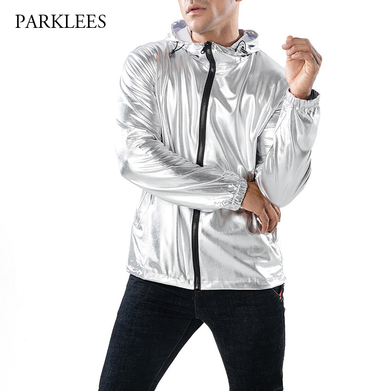 Shiny Silver Metallic Jacket Men Nightclub Stage Show Hooded Mens Jackets And Coats Slim Fit Hip Hop Streetwear Chaqueta Hombre in Jackets from Men 39 s Clothing
