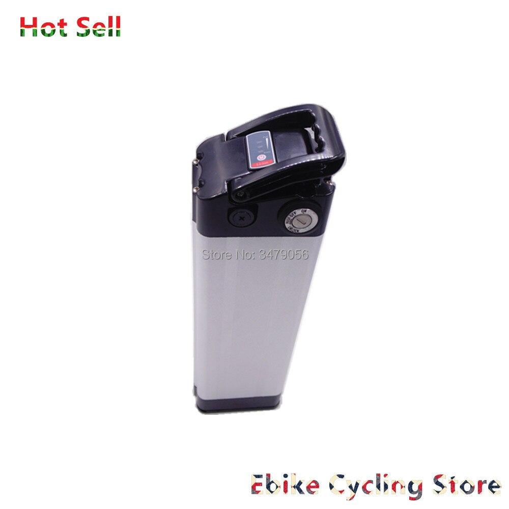 Free Shipping Silver Fish Type Electric Bike Battery 24v 10ah 12ah 15ah 20ah For 24v 250w 350w 500w Motor Ebike Battery