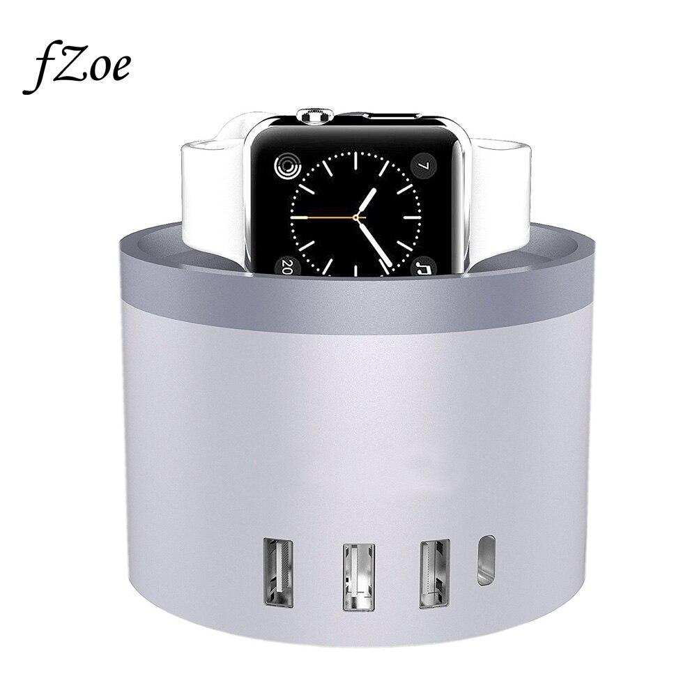 FZoe teléfono móvil 5 Puerto 30 W escritorio USB soporte de carga para Apple Watch Serie 3/2 /1/iPhone X/8/8 más estación del muelle
