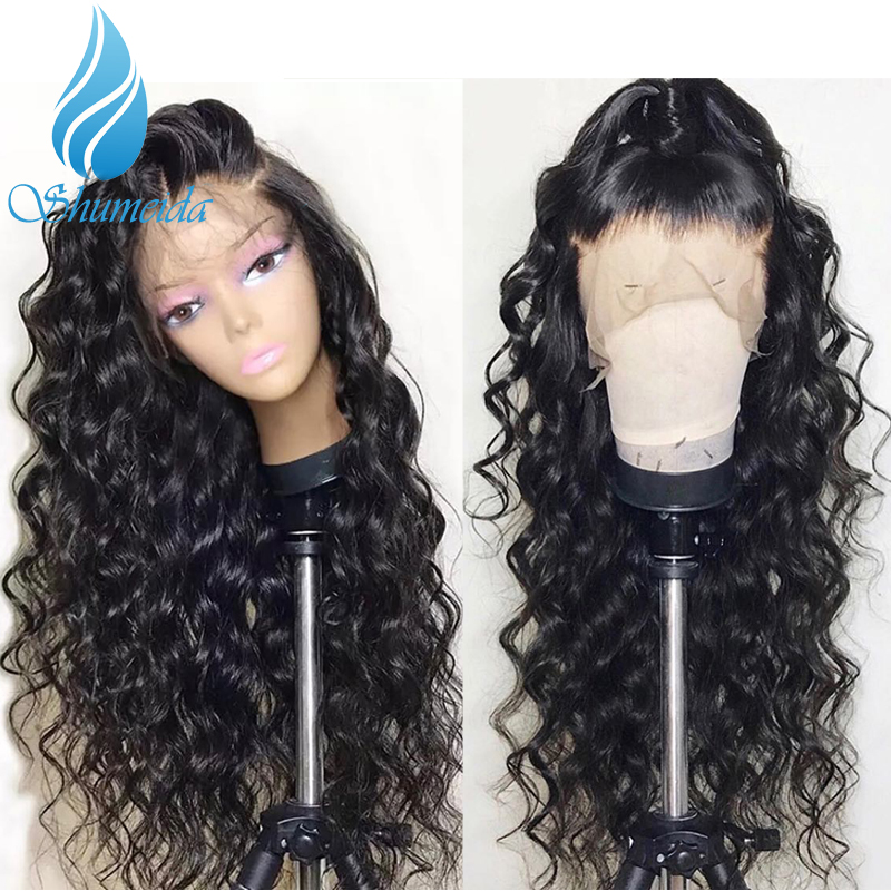 SHD 13x6 Lace Front Wig Natural Color Deep Curly Human Hair Wigs Peruvian Remy Hair Wigs