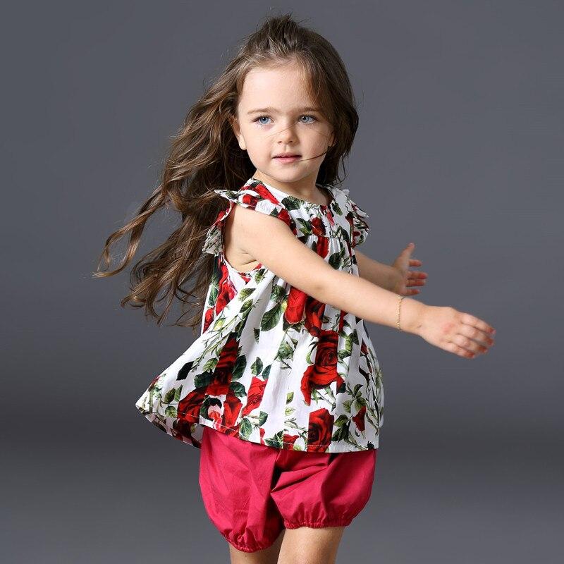2PCS Girls Sets 2017 New Designers Children Clothing Kids Clothes Sets Flare Sleeve Shirt + Lantern Shorts Baby Girl Suit Floral